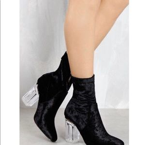 Cape Robbin Black Velvet W/ Clear Heel Ankle Boots